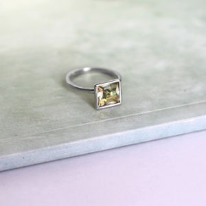 Sterling Silver Ozera Ring With Swarovski Crystal
