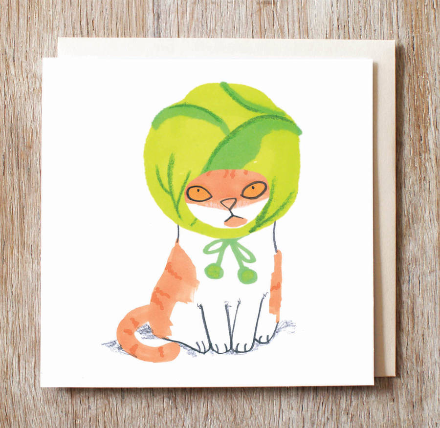 Cat In Brussels Sprout Hat Christmas Card