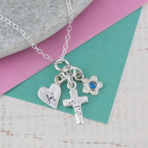 Sterling Silver Birthstone Christening Necklace