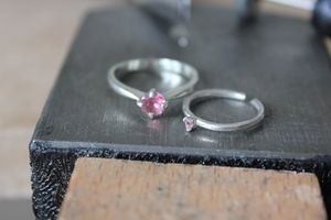 Childs Adjustable Birthstone Ring, Sterling Silver
