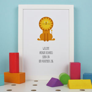 Personalised Little Lion Baby Birth Print - posters & prints