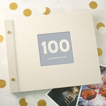 Personalised Typographic 100th Birthday Photo Album