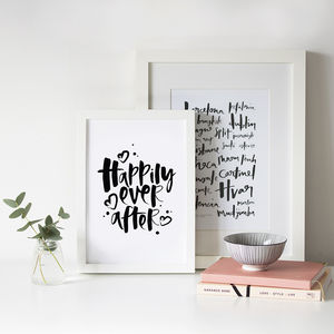 'Happily Ever After' Hand Lettered Wedding Print Gift - shop by occasion