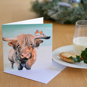Highland Cow And Robins Christmas Card