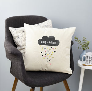 Personalised Cloud And Hearts Cushion