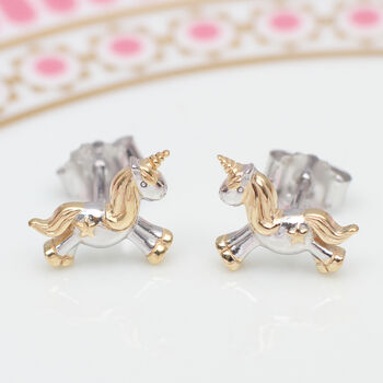 Sterling Silver And 18ct Gold Unicorn Earrings