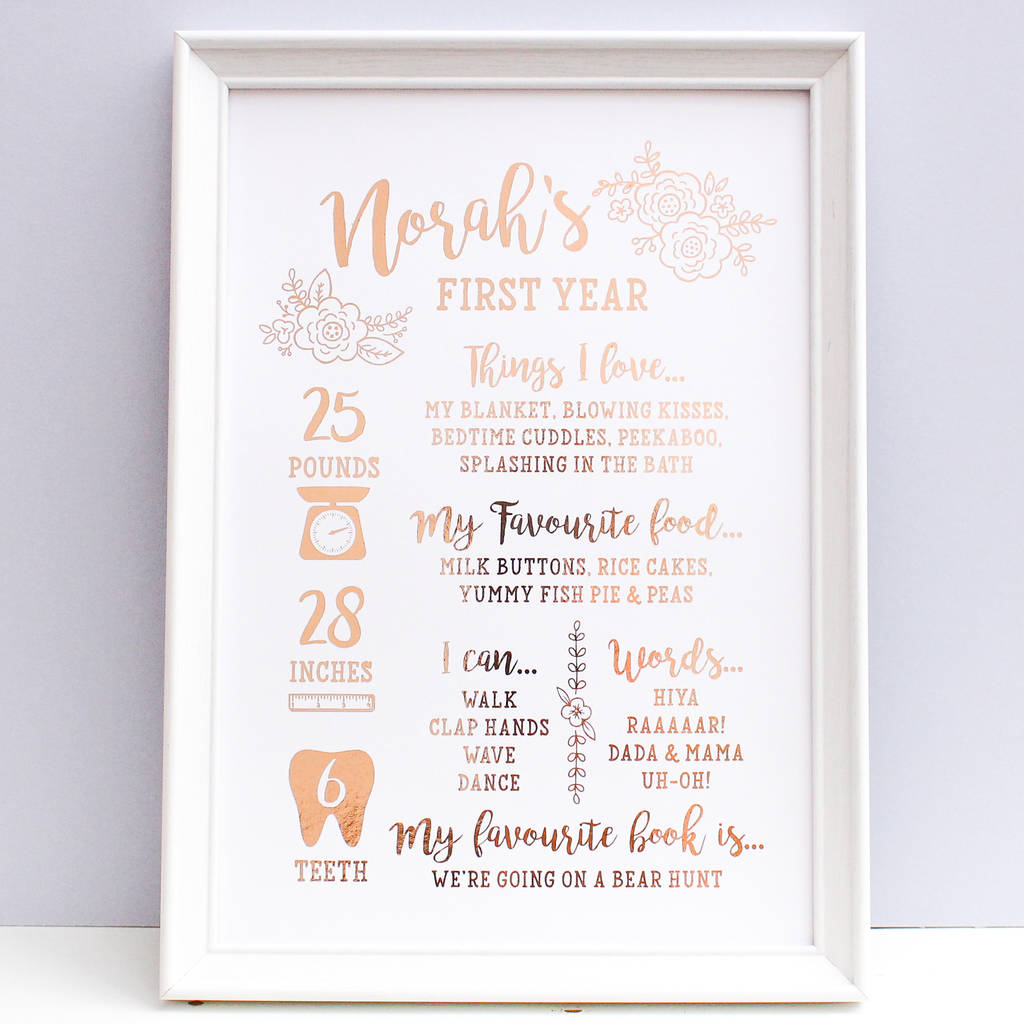 Rose Gold Foil Baby First Birthday Print By Nina Thomas Studio