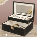Large Faux Leather Tiered Jewellery Box