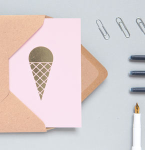 Set Of Four Luxury Ice Cream Print Card