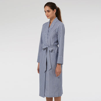 Dressing Gowns In Cotton Blue Stripe