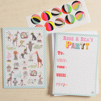 12 Child's Party Invites Pets Design