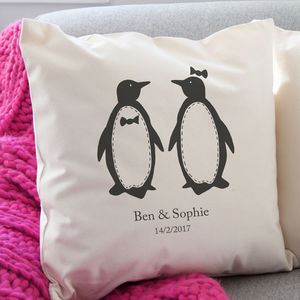 Personalised Penguin Pairs Cushion - living room