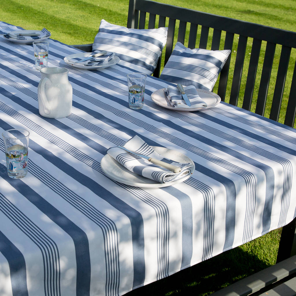 Bon Striped Blue And Taupe Wipe Clean Tablecloth