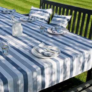 Striped Blue And Taupe Wipe Clean Tablecloth - bed, bath & table linen