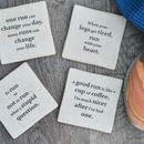 Set Of Four Ceramic Running Quotes Coasters
