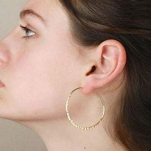 Large Hammered Crescent Earrings