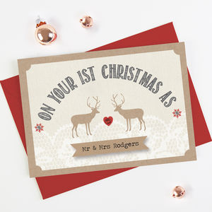 1st Married Christmas Card Husband Wife Stag - cards