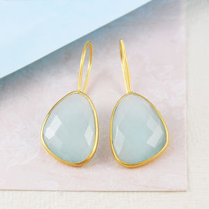 Aqua Chalcedony Irregular Gemstone Gold Earrings - earrings