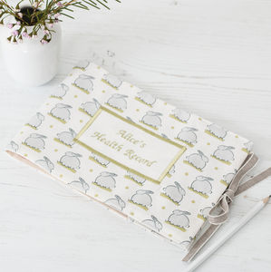 Bunny Linen Personalised Baby Health Record Cover - new in baby & child