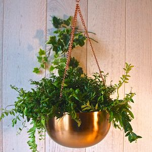 Copper Hanging Bowl Planter - home accessories