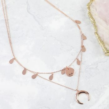 Personalised Rose Gold Double Layer Horn Necklace