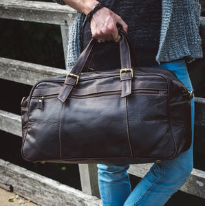 Thick Oiled Leather Travel Holdall - holdalls & weekend bags