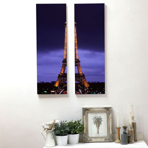 'Paris By Night' Eiffel Tower Canvas Print