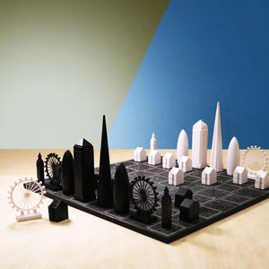 Skyline Chess Set With Black London Map Board - gifts for him