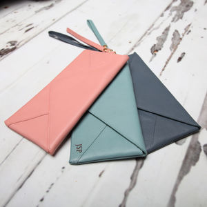 Personalised Envelope Leather Purse / Mini Clutch