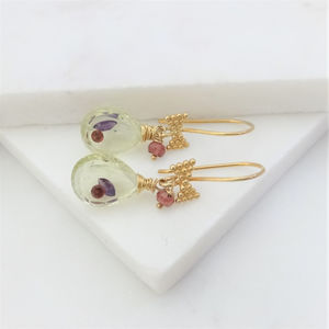 Garnet Lemon Quartz Sapphire Earrings