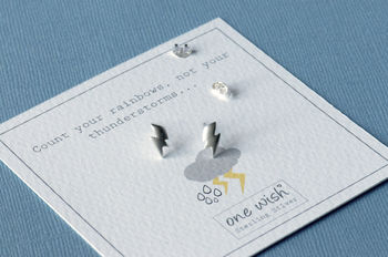 Thunderbolt Matt Sterling Silver Stud Earrings