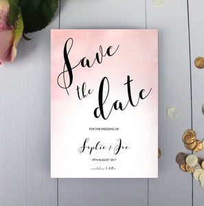 Watercolour Calligraphy Wedding Save The Date Card - save the date cards
