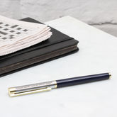 Personalised Rhodium Roller Ball Pen - stationery