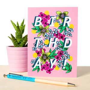 Birthday Card With Botanical Illustration