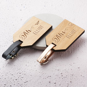 Personalised Wooden Honeymoon Luggage Tags - gifts for couples