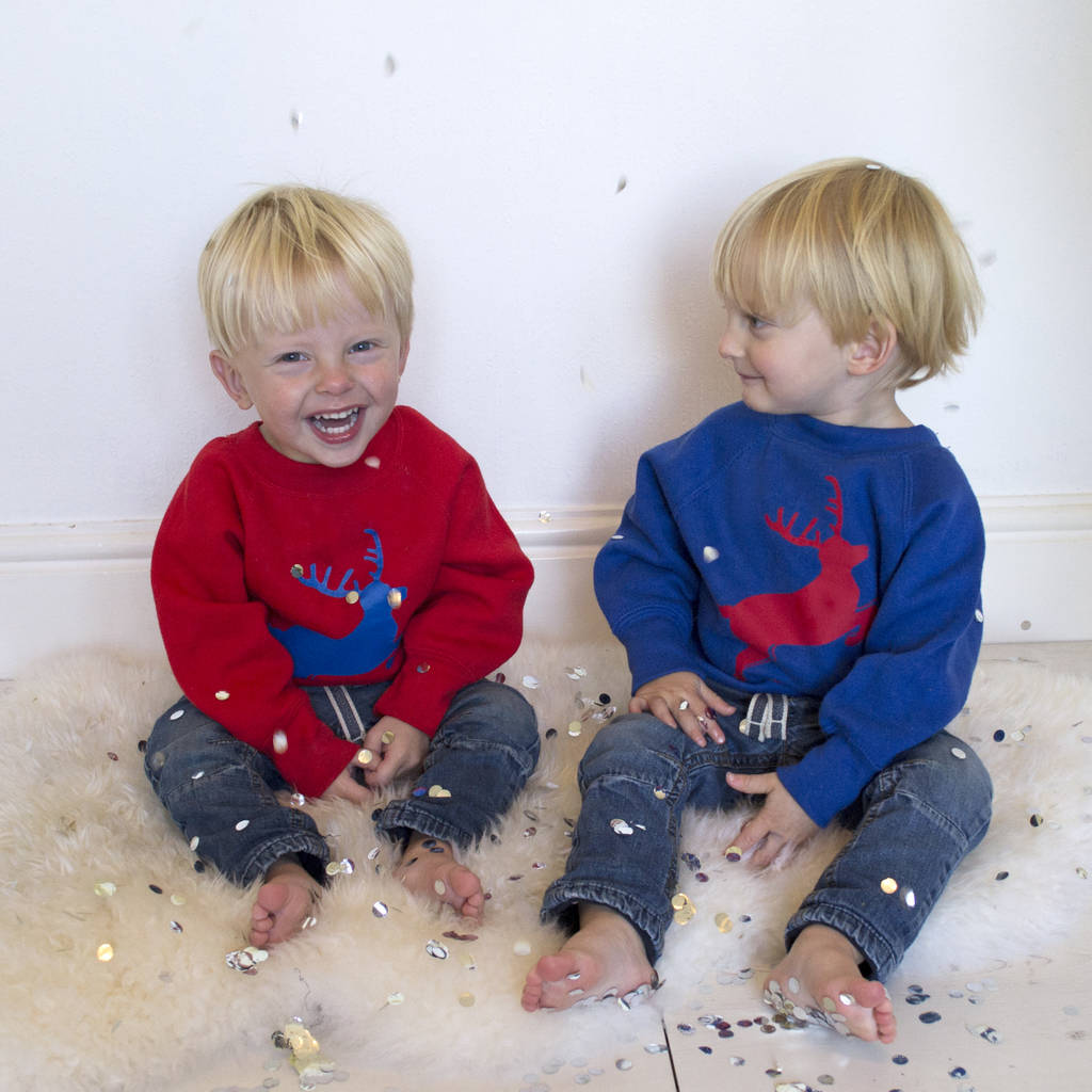 Children's Personalised Reindeer Christmas Jumper