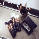15pc Rose Gold And Chocolate Make Up Brush Set