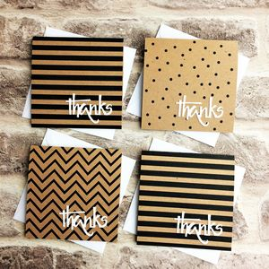 Set Of Six Black, White And Kraft Mini Thank You Cards