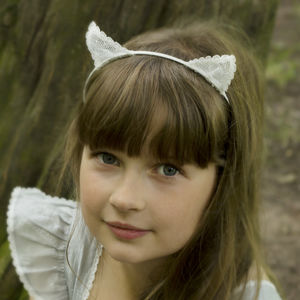 Girls Ivory Lace Pussycat Hairband