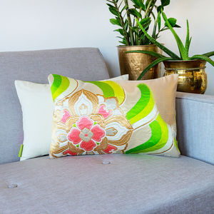 Vintage Cream Gold Green Floral Silk Cushion - bedroom