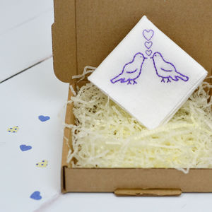 Handmade Personalised Handkerchief : Love Birds - 2nd anniversary: cotton