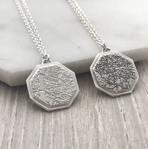 Personalised Geometric City Map Pendant - gifts for her