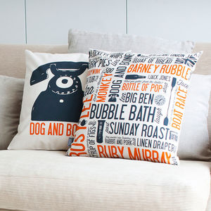 'Dog And Bone' Cockney Cushion Orange