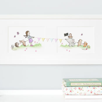 Girls tug of war nursery art