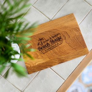Beach House Personalised Oak Wood Chopping Board