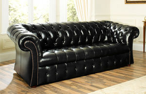 Beckett Black Leather Chesterfield Sofa - sofas
