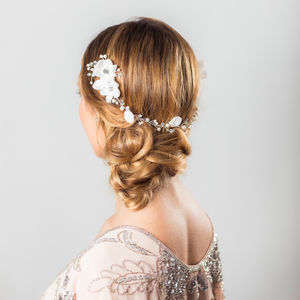Anais Crystal And Flower Hair Vine - wedding jewellery