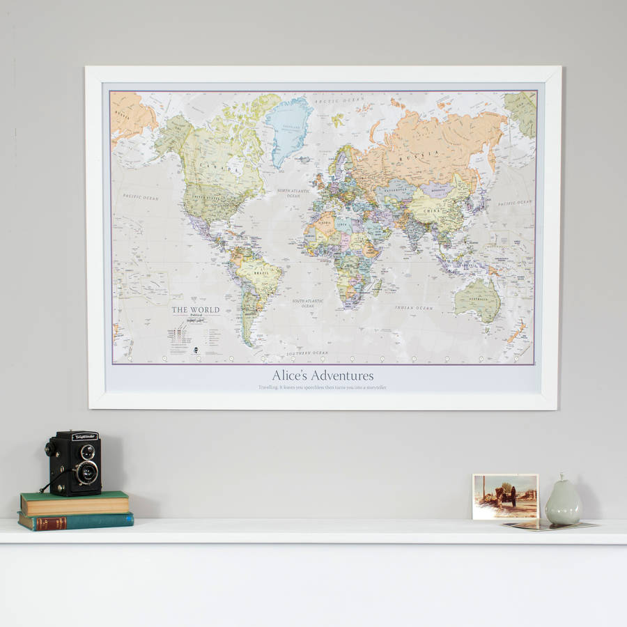 Personalised classic world map by maps international personalised classic world map gumiabroncs Choice Image