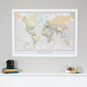 Personalised Classic World Map - frequent travellers