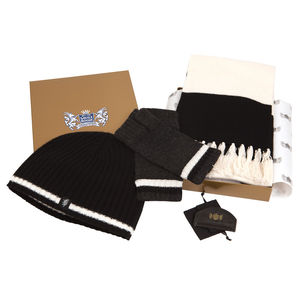 Cashmere Football Gift Sets In Black And White - gloves
